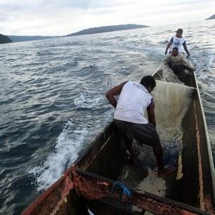 Jaring dilepaskan melingkar menburu mesim longboat menderu dengan kecepatan tinggi